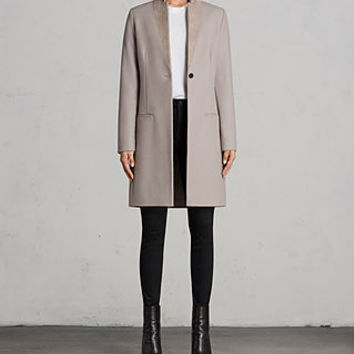 ALLSAINTS US: Womens Leni Coat (Taupe Brown)