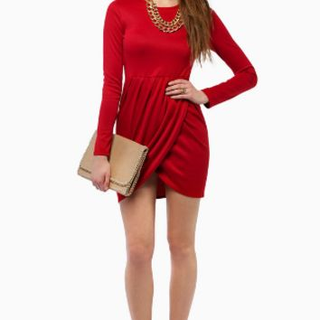 Plain Asymmetrical Long Sleeved Dress