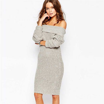 Winter Women's Fashion Strapless Knit One Piece Dress [6281584964]