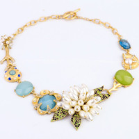 Lux Tranquil Blues Dramatic Cluster Collar Necklace
