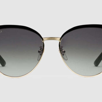 Gucci - GG0074S Black/Endura Gold Sunglasses, Grey Lenses