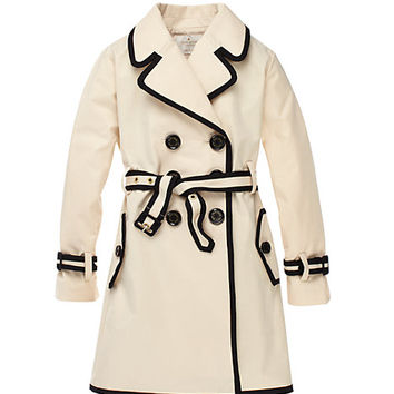 Kate Spade Girls' Top Liner Trench Khaki / Black