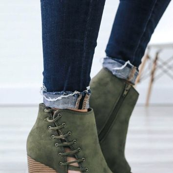Steal your heart booties-olive