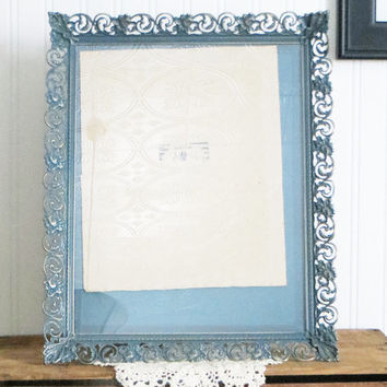 Ornate Frame Slate Blue Gold Metal Large Upcycled Vintage Chalk Paint 16 by 13