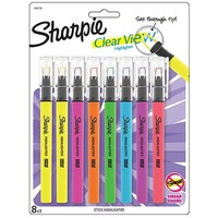 Sharpie Clear View Highlighters Stick, Assorted Fluorescent, 8 Pack (1966798) | Staples