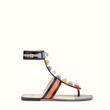 FENDI | FLAT SANDAL in black leather with multicolored studs