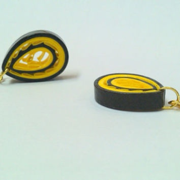 Paper Earring Yellow and Black