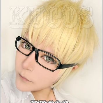 Biamoxer Anime Haikyuu!! Kei Tsukishima Cosplay Wigs Short Light Blonde Cosplay Costume Wig Heat Resistant (not include glasses)