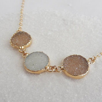 Triple White Champagne Druzy Necklace 24K Gold Circle Crystal Quartz Drusy Gold Filled Chain - Free Shipping OOAK Jewelry