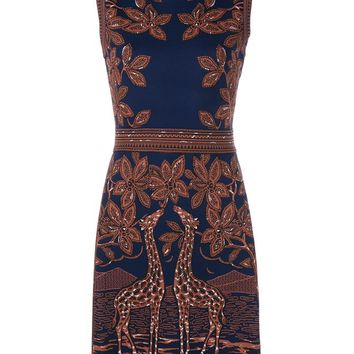 Giraffe Jacquard Sleeveless Dress - VALENTINO