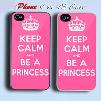 Keep Calm And Be A Princess Pretty Pink Custom iPhone 4 or 4S Case Cover
