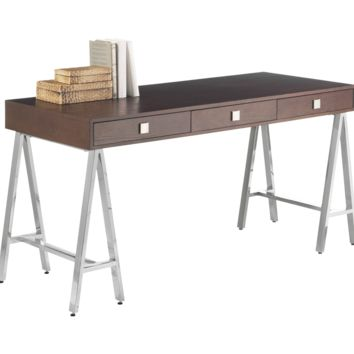 EMBRACE DISTRESSED OAK VENEER IN MEDIUM BROWN FINISH TRESTLE STYLE STAINLESS STEEL BASE DESK