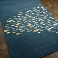 Jaipur Coastal Living Schooled Aegean Blue Hand Tufted Wool Rug