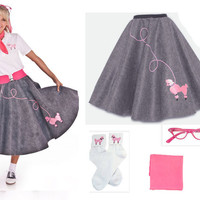 Adult 4 pc 50's Poodle Skirt Outfit Grey and Hot Pink