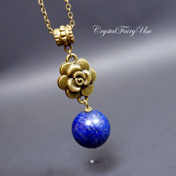 Genuine Lapis Lazuli Necklace, Lapis Lazuli Healing Necklace, Blue Stone Vintage Flower Design Lapis Boho Necklace  Lapis Jewelry