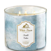 Sunlit Cedar 3-Wick Candle - White Barn | Bath And Body Works