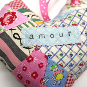 French Ornament Mini French Word Pillow Mini Pillow Hanging Heart  Valentines Heart - Heart Pillow - Amour - Shabby Chic French Pillow