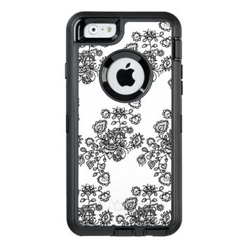 Monochrome Girly Lace Pattern OtterBox Defender iPhone Case
