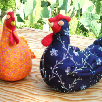 SPRING SALE - Colorful Fabric Chicken Doorstop or table decoration made to order - in continental US guaranteed delivery in 14 days