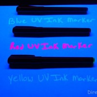Set of 3 Invisible UV Blacklight Ink Marker Blue Red Yellow