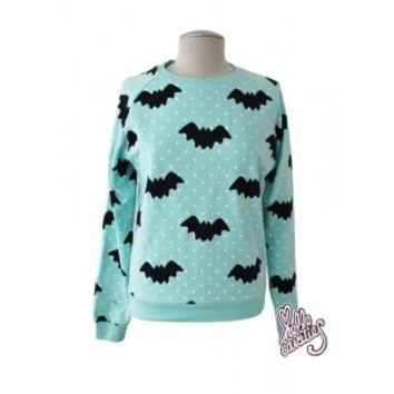 Hello Cavities Cute Pastel Goth Polka Dot Bat Sweater Mint