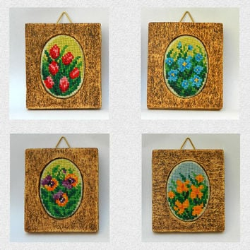 Completed cross stitch embroidered miniature paintings doll house decor floral hand embroidery set of four