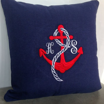 SP001 Couples Nautical monogram pillows- Custom letter and anchor throw pillows-16x16 wedding pillows-navy blue pillows