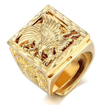 Big Biker Eagle Men 's Ring Punk Rock Gold Color Resizeable To 7-11 Finger Jewelry Never Fade
