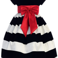White & Black Velvet Girls Flocked Taffeta Christmas Dress w. Red Bow 3M-10