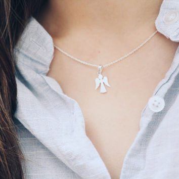 Silver Angel Necklace, Angel Necklace, Guardian Angel Necklace, Angel Pendant, Angel Charm Necklace, Bridesmaid Gift, Gift to Sister