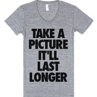 Take a Picture-Female Athletic Grey T-Shirt