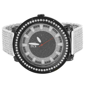 Hip Hop Fully Iced Out 14k White Gold Finish Band Black White Designer Men's Watch