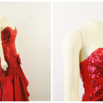 Vintage Dress Red Sequin Mermaid Formal Wear Jessica Rabbit Sexy Nadine Union Made Size 11 Modern Medium