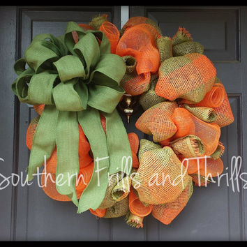 Fall Deco Mesh and Burlap Wreath, Fall Wreath, Burlap Wreath, Autumn Wreath, Deco Mesh Wreath, Autumn Deco Mesh Wreath, Autumn Fall Wreath