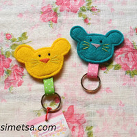 Felt Mouse Keychain -  Handmade Small Mouse Key Ring - Colorful Key Ring