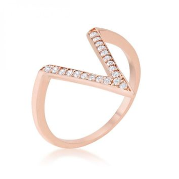 Michelle 0.2ct Cz Rose Gold Delicate V-shape Ring (size: 06) R08464A-C01-06