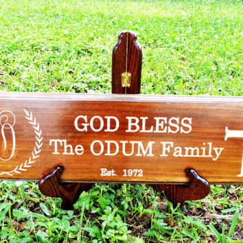 Personalized Christian Family Last Name Engraved Wood Sign // Wall Art Decal // Wedding Gift - Couples Anniversary Gift