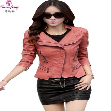 Spring Women Leather Jackets Plus Size Blends sheepskin leather jacket and coat Women Ladies short  motorcycle jacket