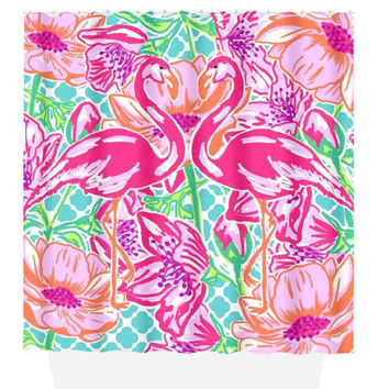 Flamingo SHOWER CURTAIN, Lily Flower, Hot Pink Lime, Dorm Custom MONOGRAM Personalized, Girl Sister Decor, Towel, Plush Bath Mat