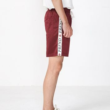 Satin Track Cross Stripe Shorts in Maroon