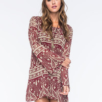 Blu Pepper Paisley Dress Burgundy  In Sizes