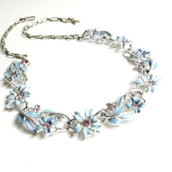 Vintage Star Blue Purple Enamel Flower Necklace, Purple Rhinestone Necklace, Floral Necklace, Silver Tone Metal