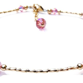 Handmade Gold Filled Swarovski Crystal Beaded Ankets w/ Swarovski Crystal  -  Birthstone Pink Tourmaline October