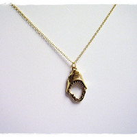 Shark Jaws Charm Necklace in Antique Gold Pewter with a Delicate 18 Inch Gold Plated Cable Chain