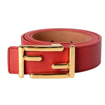 Fendi Leather Red Women's Belt