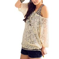 Allegra K Ladies Beige Scoop Neck Half Sleeves Lace Shirt M w Tank Top:Amazon:Clothing
