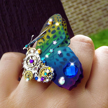 Steampunk ring, butterfly ring, rainbow ring, unique steampunk, filigree ring, cocktail boho ring, OOAK, magic ring, watch gear ring