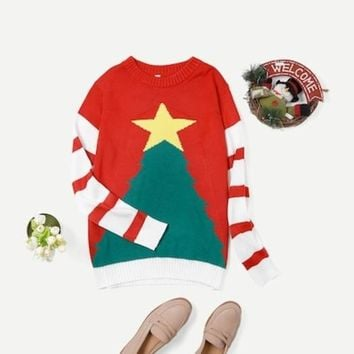 Men Christmas Print Striped Sweater