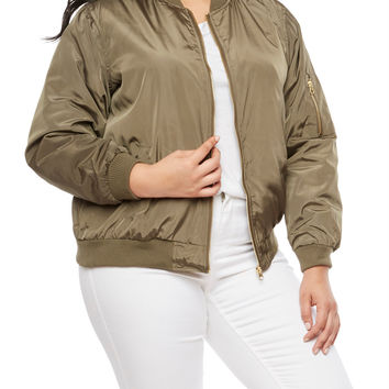 Plus Size Solid Bomber Jacket