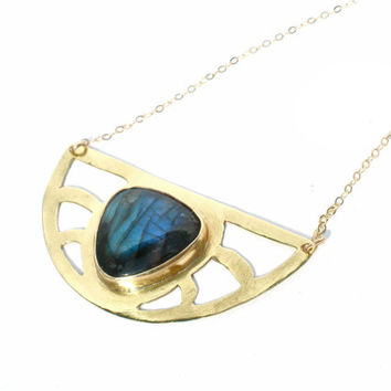 Labradorite and Pierced Brass Bib Necklace with Gold Filled Chain- Egyptian Revival Inspired- Half Moon
